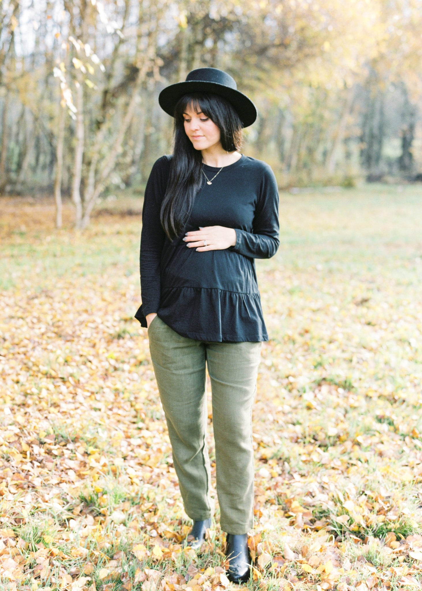 Smocked Linen Pants Olive- Maternity and Postpartum Friendly