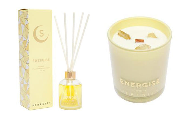 serenity citrine citrus crystal candle and reed diffuser energise