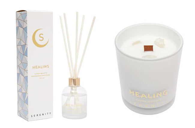 serenity healing crystal candle reed diffuser clear quartz