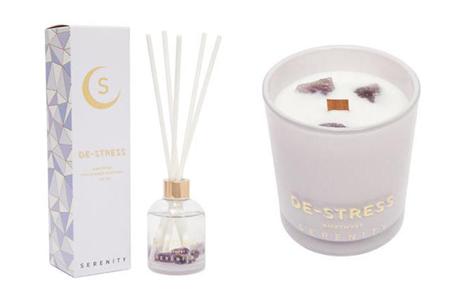 serenity crystal candle reed diffuser de stress amethyst