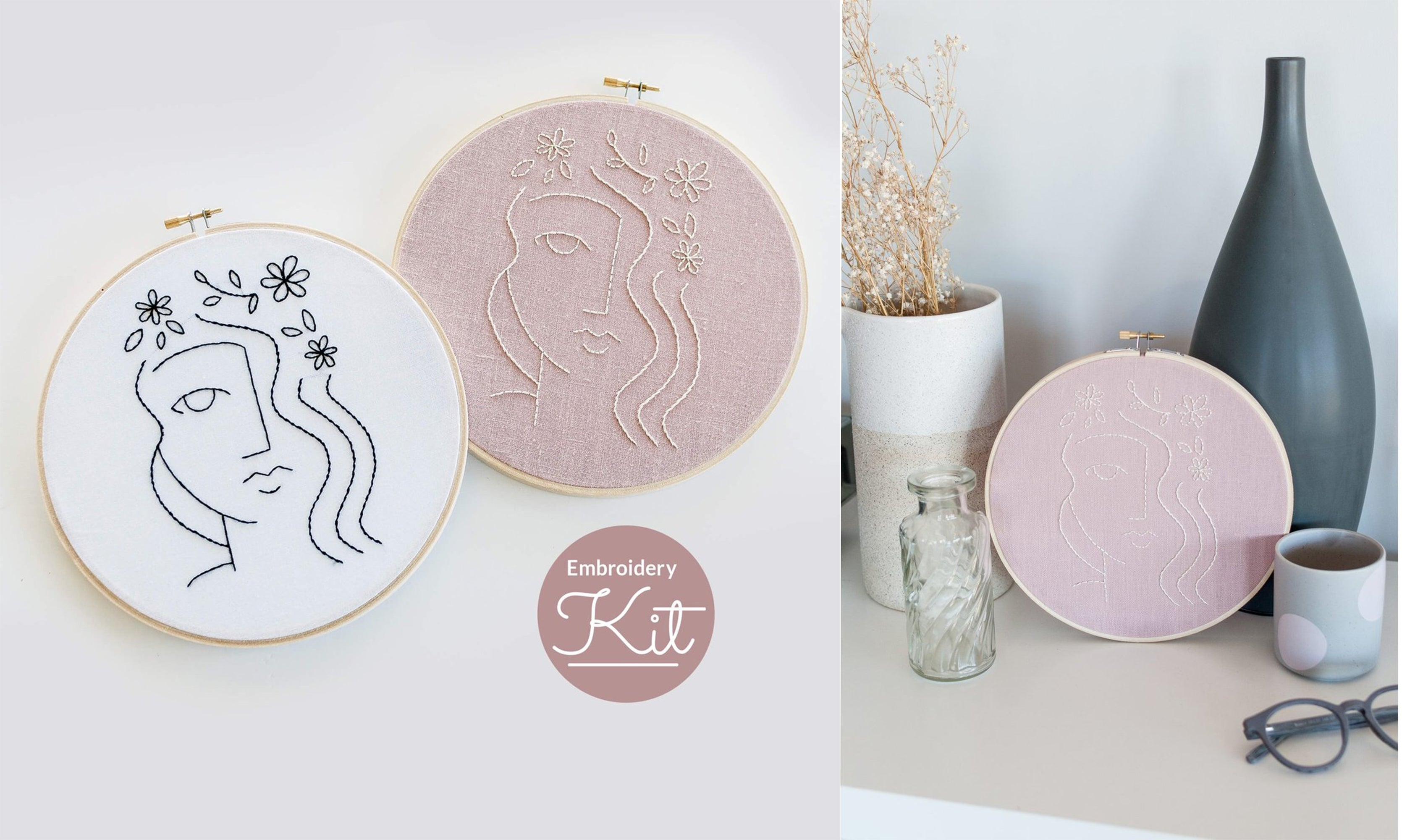 flora face embroidery kit Brynn&co