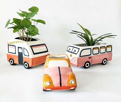 Retro Combi Van Bug Planter