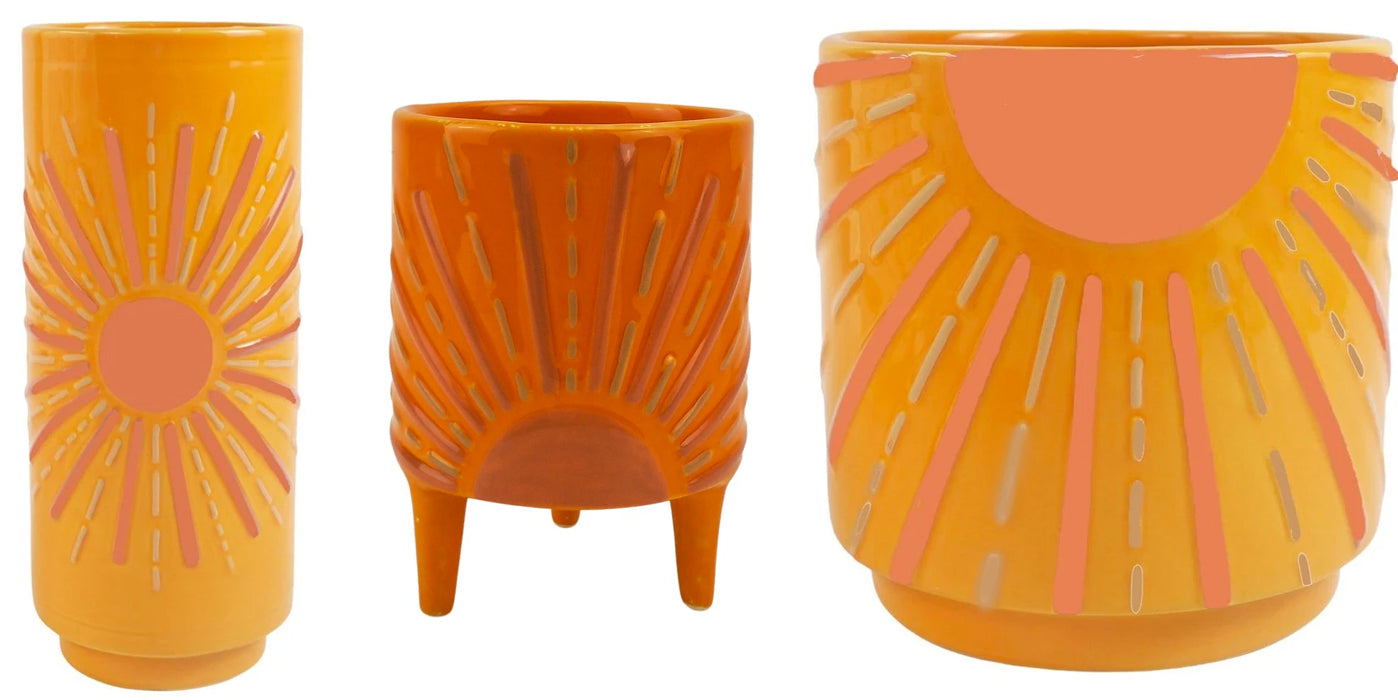 orange sunshine planter urban products standing vase