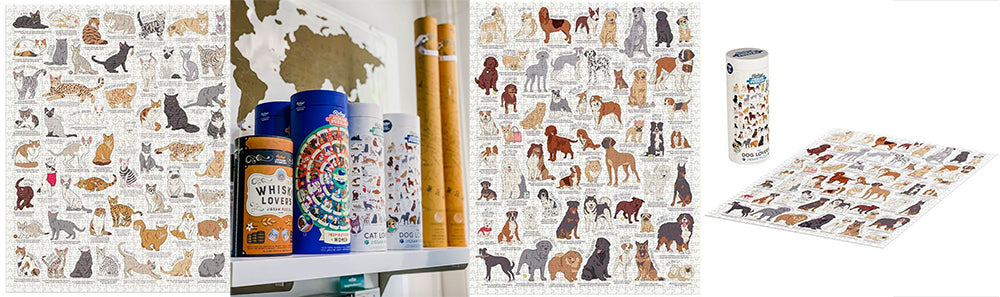 cat puzzle and dog puzzle by Ridleys