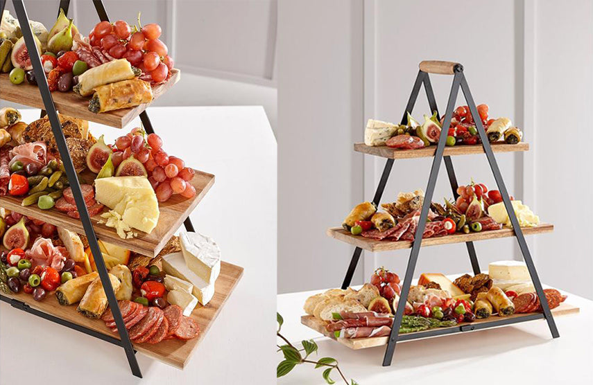 ladelle serve and share acacia wood platter 3 tier