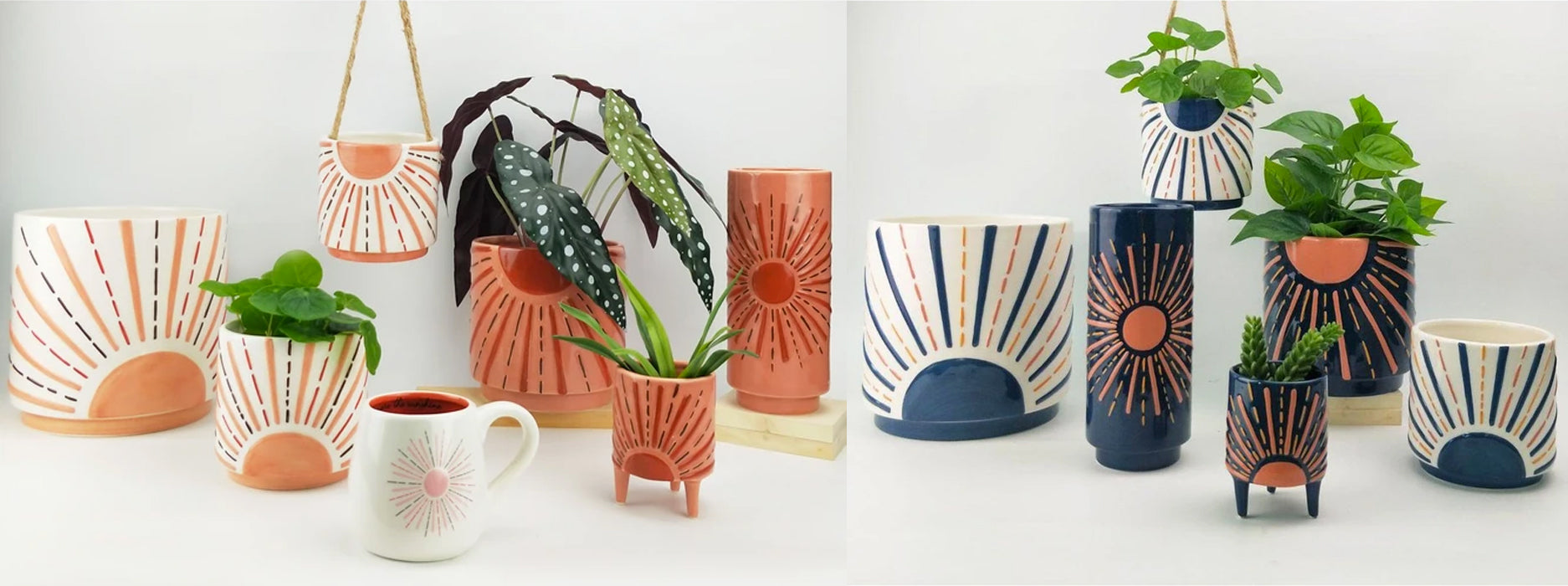 sunshine planter range in blue pink and orange urban products