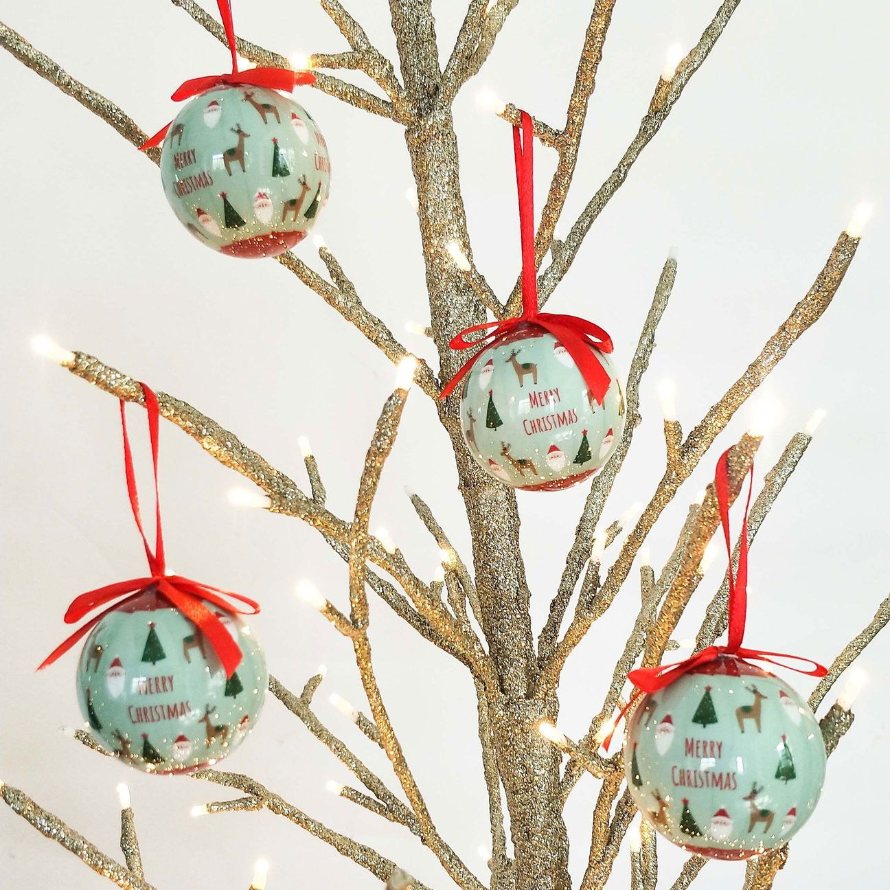 sage and red decorations bauble