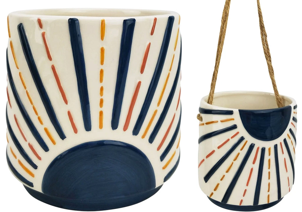 blue sunshine ceramic planter hanging standing