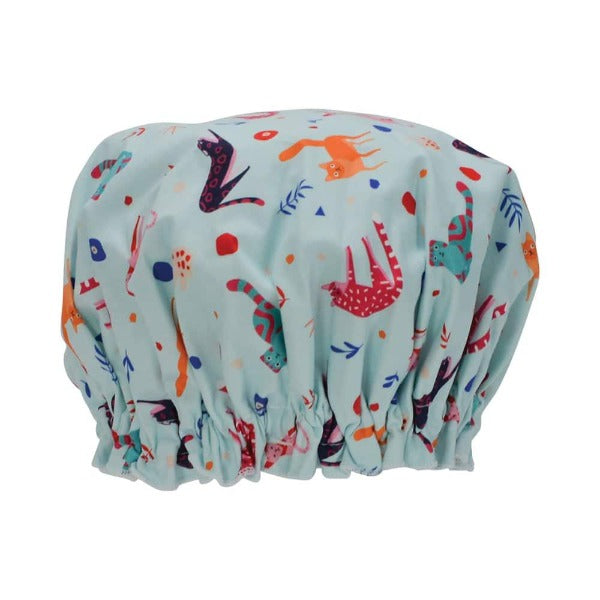 blue shower cap with retro cat print for women