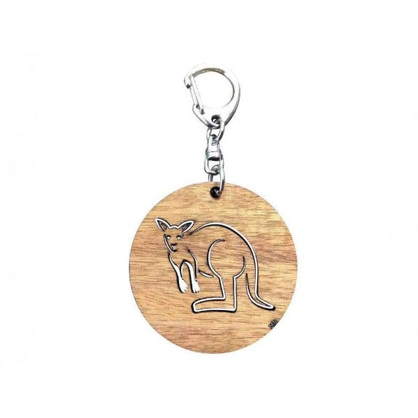 Kangaroo Round Blackwood Key Ring