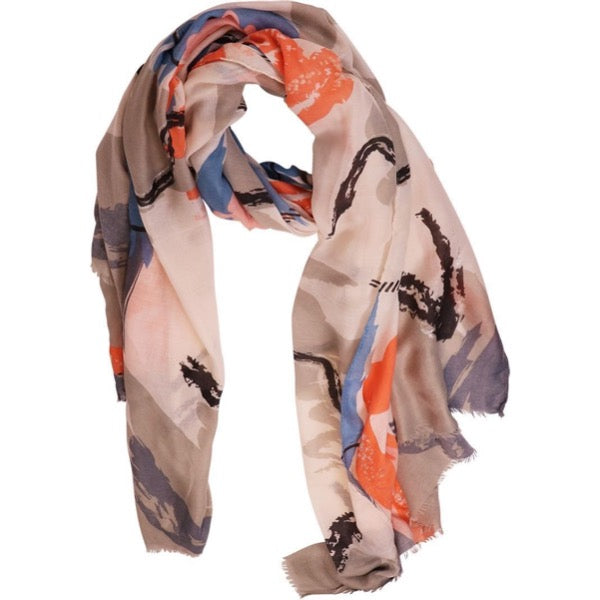 orange and grey scarf for women