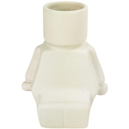 block man white sitting planter