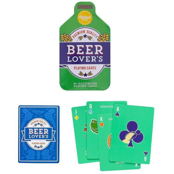 green beer playing cards in beer bottle shaped novelty tin