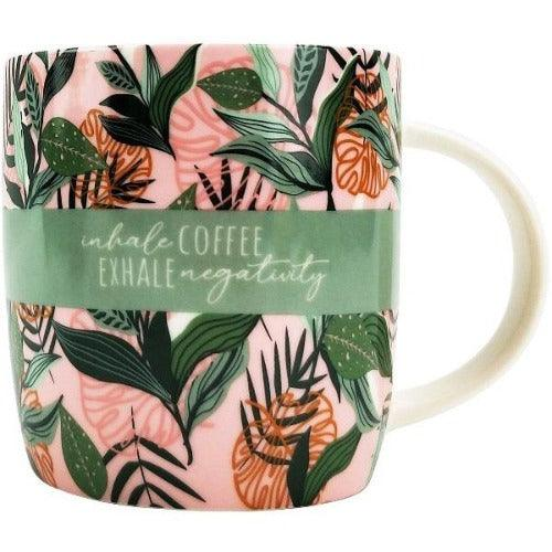 green and pink coffee quote mug