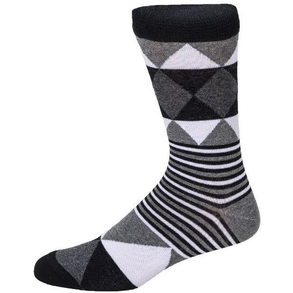 monochrome geometric socks