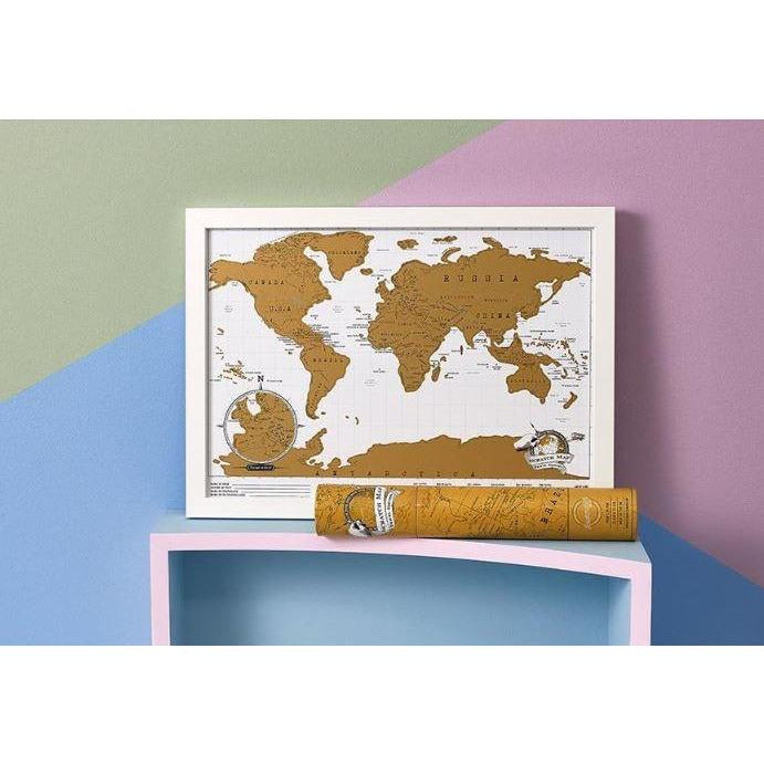 World map scratch poster