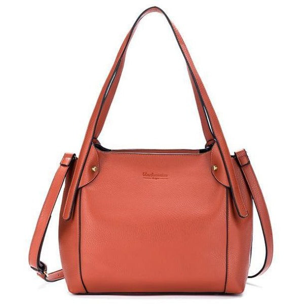 Orange Vegan Leather 3 Piece Maya Handbag