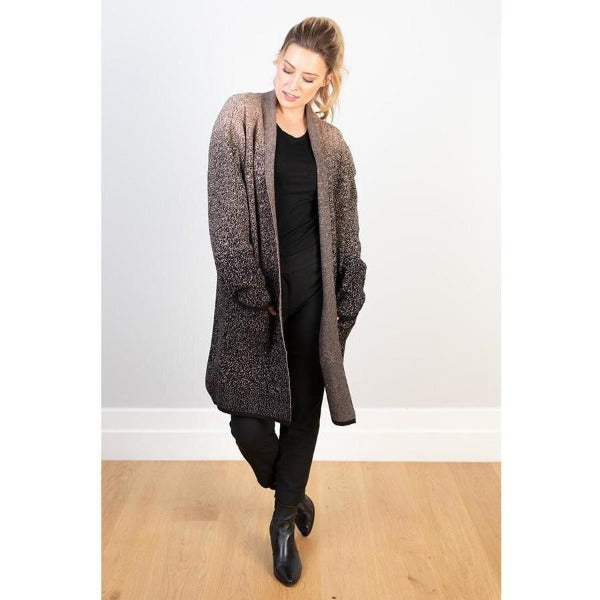 Wool Blend Coat with speckled Beige and Black Print