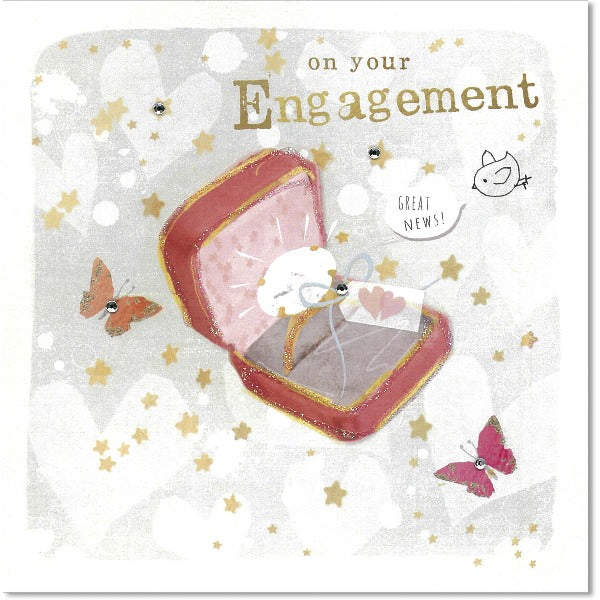 pink and gold engagement greeting card