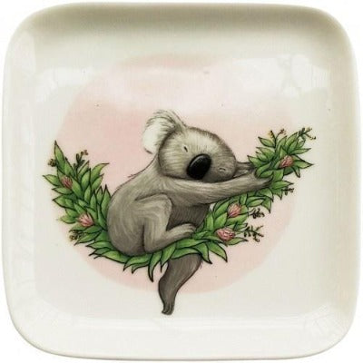 Renee Treml Sleeping Koala Dish Pink