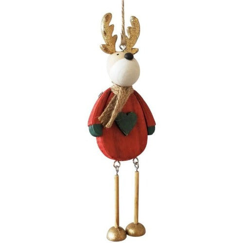 quirky red hanging reindeer decoration
