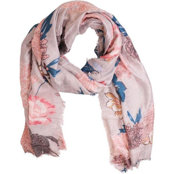 grey floral scarf for women