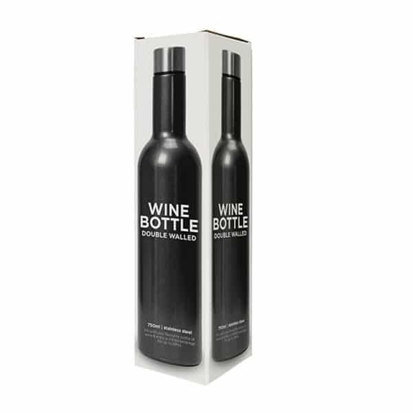 Gun Metal Grey Stainless Steal Double Walled Wine Bottle