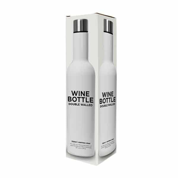 White Stainless Double Walled Wine Bottle
