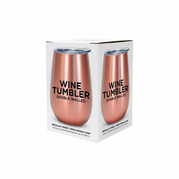 Rose Gold Stainless Steel Double Walled Wine Tumbler