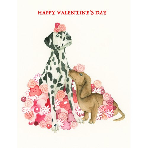 valentines day card white floral dogs