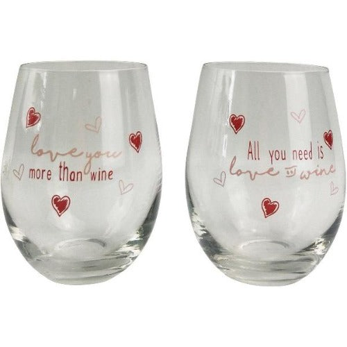 wine glasses with love hearts and quote