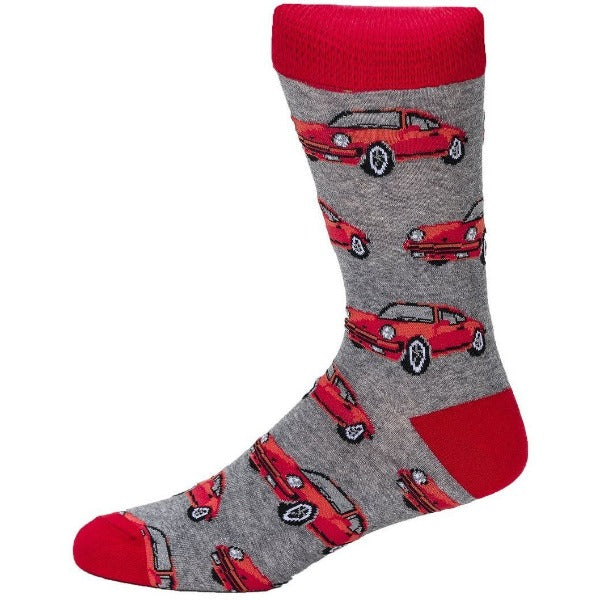 red and grey car socks