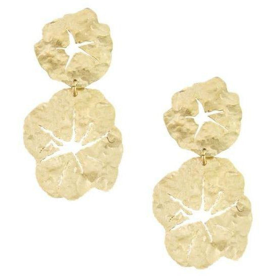 Gold Floral Pansy Earrings