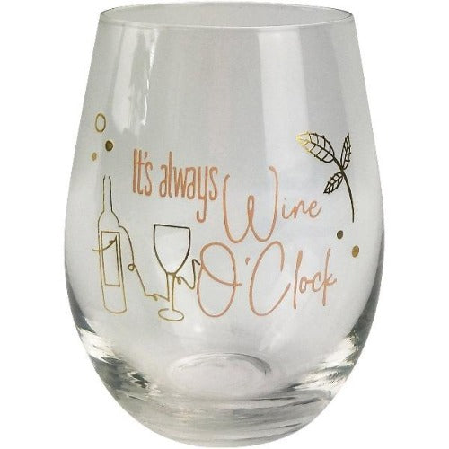 novelty wine glass for women its always wine oclock