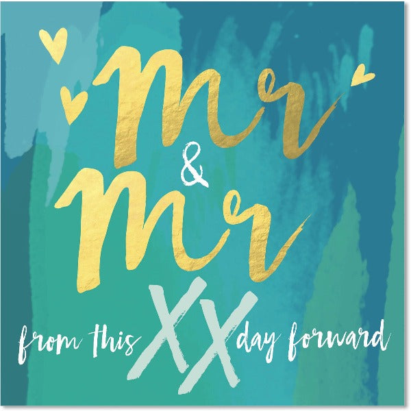 blue and gold mr and mr wedding greeting card