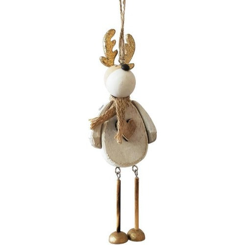 quirky white reindeer hanging decoration