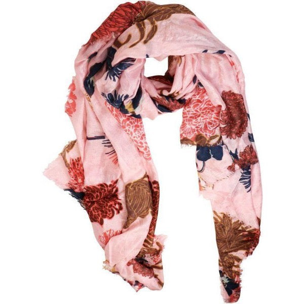 pink floral scarf for women
