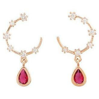 Pink Crystal Tear Drop Earrings