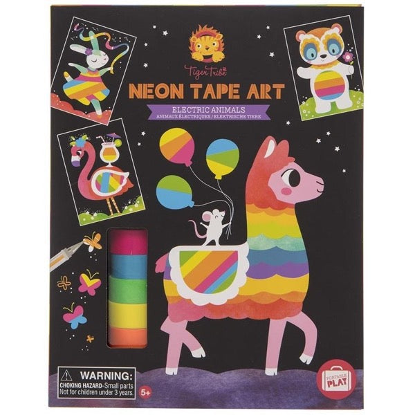 Neon Tape Art Electric Animals