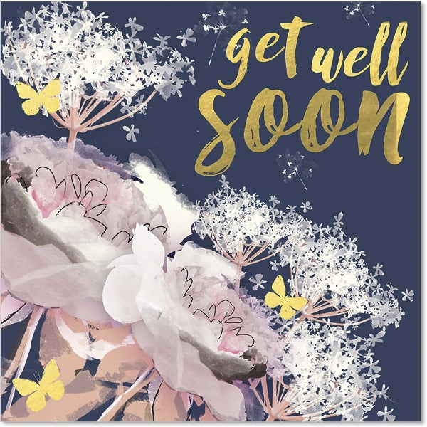 blue and pink floral get well soon greeting card