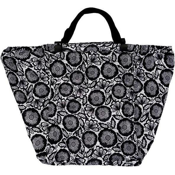 Black Floral Shopping Trolley Bag
