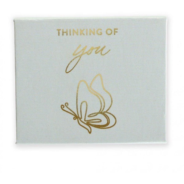 gold foil pebble in custom box white thinking of you