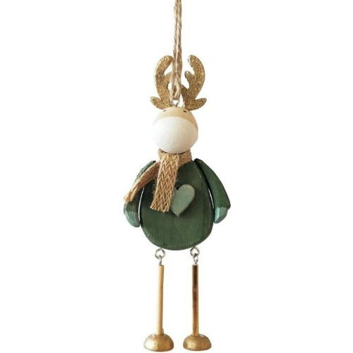 quirky sage reindeer hanging decoration