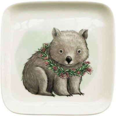 Renee Treml Sitting Wombat Dish Green