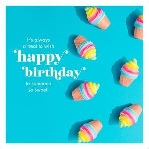 blue happy birthday greeting card with quote