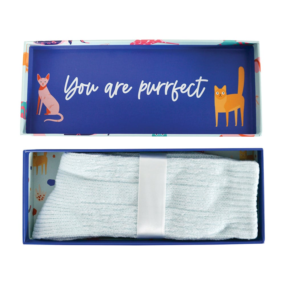 Annabel trends blue luxe socks boxed with quote cat lady