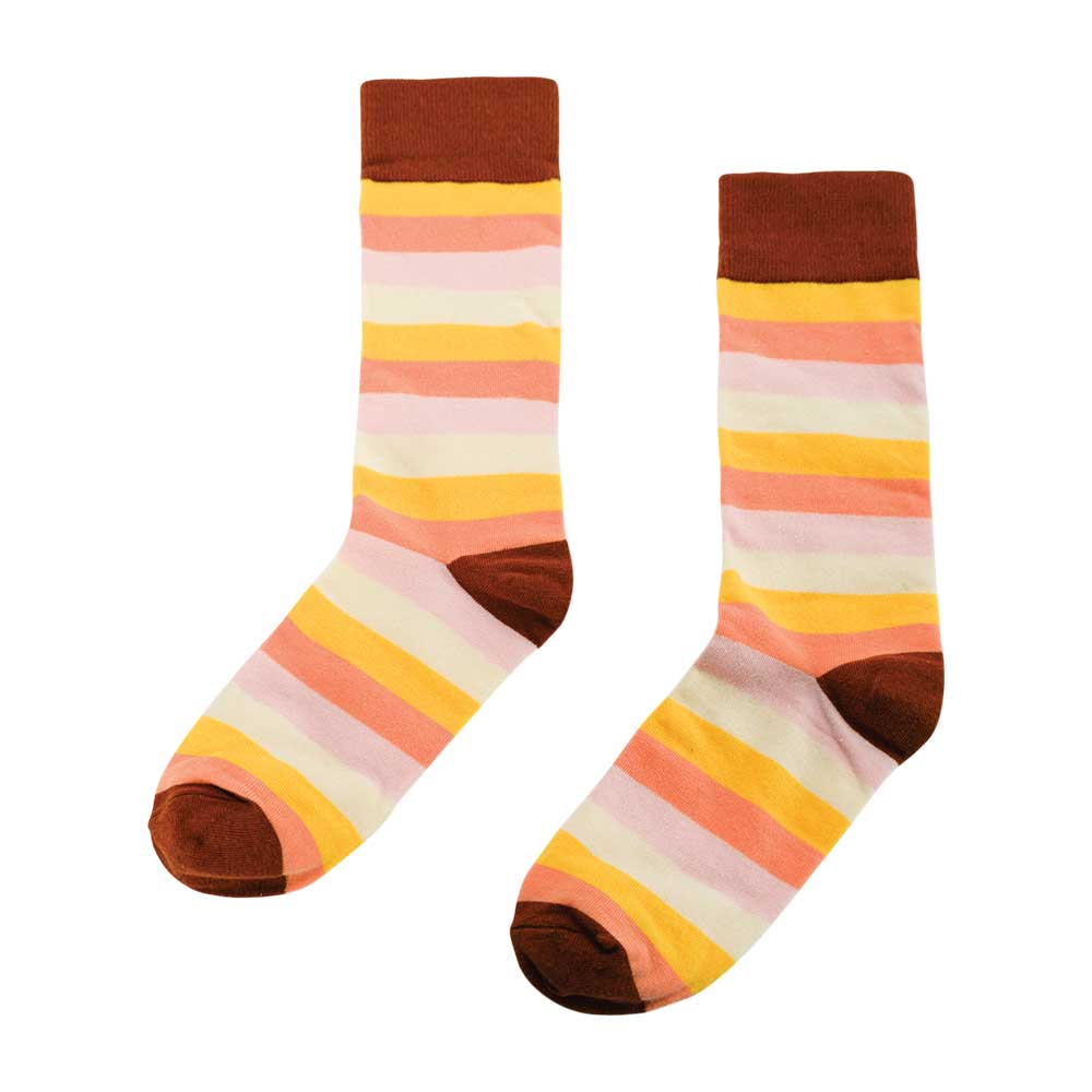 peach terracotta and yellow socks with quote for women by annabel trends