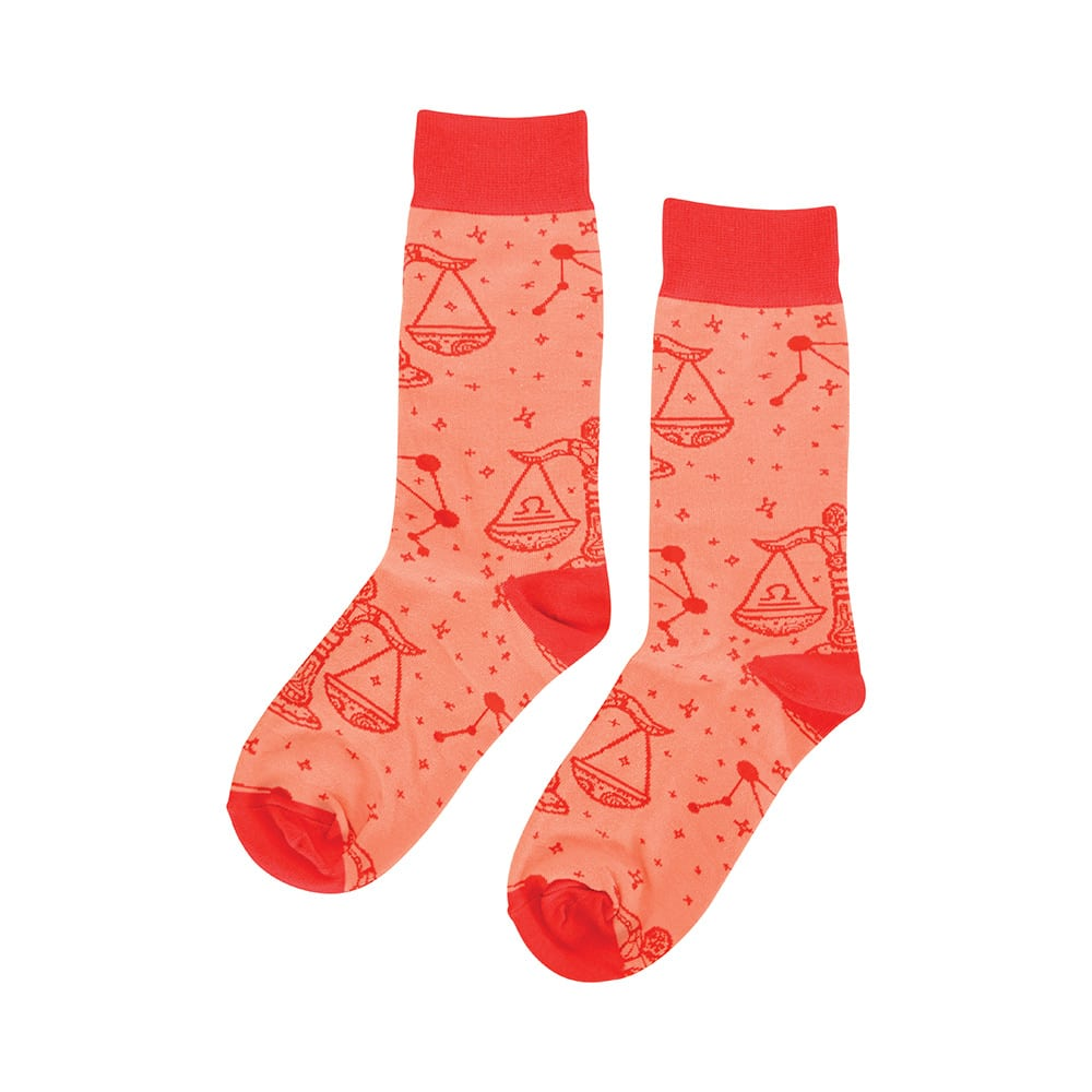 peach and red Libra zodiac boxed socks for women annabel trends