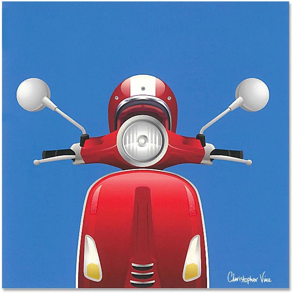 blue and scooter car greeting card