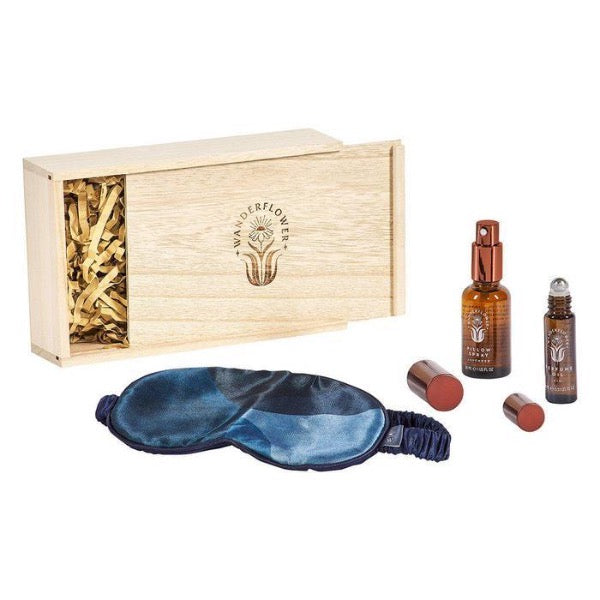 blue silk mask essestial oils sleep set in wooden box
